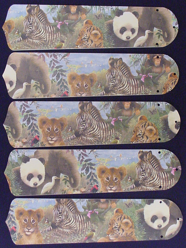 "Baby Safari Elephant Lion Zebra 52"" Ceiling Fan Blades Only 1"