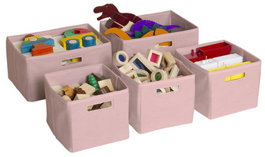 Guidecraft Pink Storage Bins - Set of 5 2