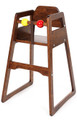 Wooden Stacking Restaurant High Chair Brown