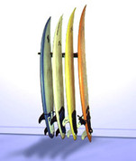 Surfboard storage in surf shop style. T-Rax surf rack will have your surfboards lined up and ready to go. Keep your surfboards safe and secure with T-Rax. Made in the U.S.A.