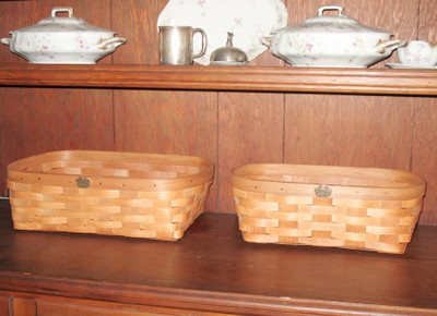 Peterboro Set of 2 Oval Bookcase/Storage Baskets