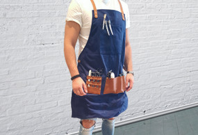 BARBER PRO Barbers Apron - Denim Blue