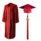 Shown is shiny red cap, gown & tassel package (Cool School Studios 0136).