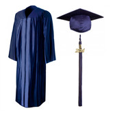 Shown is shiny navy blue cap, gown & tassel package (Cool School Studios 0137).