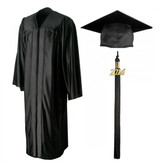Shown is shiny black cap, gown & tassel package (Cool School Studios 0133).