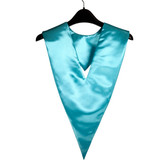 Shown is turquoise v-stole (Cool School Studios 0098), front view.