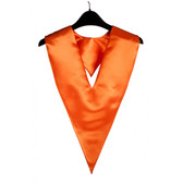 Shown is orange v-stole (Cool School Studios 0100), front view.