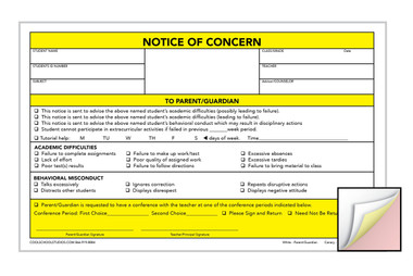 Notice of Concern - 3-part Carbonless Form - Package of 100 - Cool ...