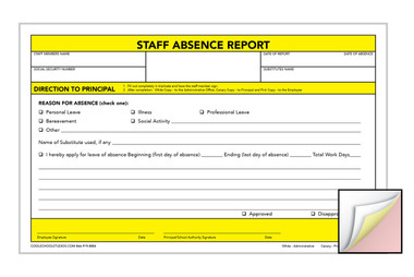 Image shows Staff Absense Report 3-part Carbonless Form from Cool School Studios.