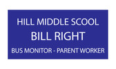 "Shown is 1-1/2"" x 3"" Engraved Name Badge (J13) from Cool School Studios."
