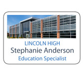 """Shown is 2"""" x 3"""" Full Color Name Badge (J14SUB) from Cool School Studios."""