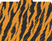 Image shows a 1/3 cut tab file folder in a tiger print pattern (orange and black).