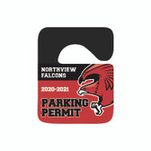 Image shows KC-6H_2) 2-color security plastic parking hang tag from Cool School Studios.
