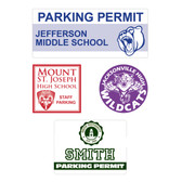 Photo shows four parking decals from Cool School Studios.