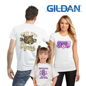 Shown is a selection of Gildan® t-shirts in white with color imprint (Cool School Studios 8000W).