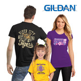 Shown is a selection of Gildan® t-shirts from Cool School Studios (8000C).