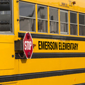 Shown here are outdoor letters in black on a school bus (Cool School Studios 10005).