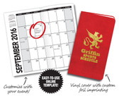 View of Custom Pocket Calendar with Vinyl Cover from Cool School Studios. Item #06019.