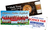 Shown are a variety of custom banners available from Cool School Studios.