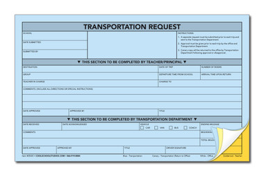 Transportation Request - 4-Part Carbonless Form - Package of 100 ...