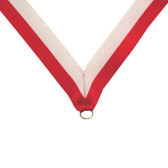 Red and White Medal Neck Ribbon - Priced Each Starting at 12