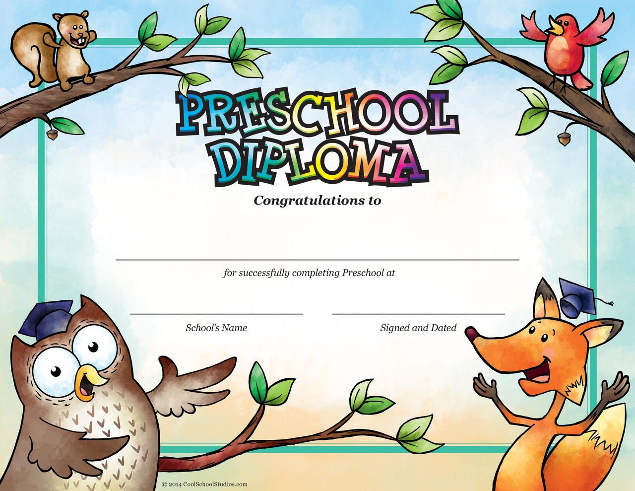 Preschool Owl & Fox Diploma - Package of 25 - Cool School
