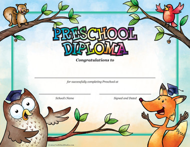 Preschool Owl & Fox Diploma - Package of 25 - Cool School Studios