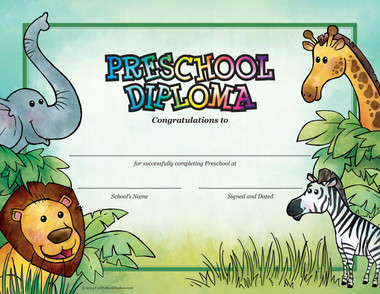 Preschool Jungle Diploma - Package of 25 - Cool School Studios