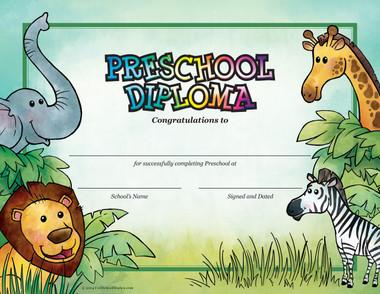 Jungle Preschool Diploma from Cool School Studios.
