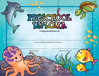 Sea Creatures Preschool Diploma from Cool School Studios.