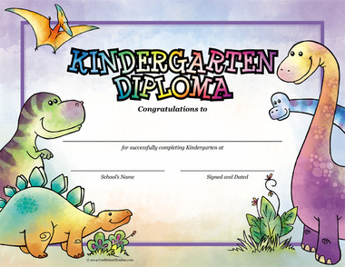 Dinosaurs Kindergarten Diploma from Cool School Studios.