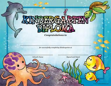 Sea Creatures Kindergarten Diploma from Cool School Studios.