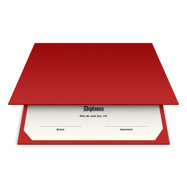 Shown is blank diploma certificate cover in red pepper (Cool School Studios 01313).