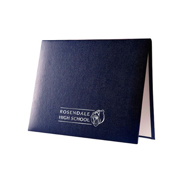 Shown is custom padded diploma certificate cover in navy blue with silver foil imprint (Cool School Studios 01318).