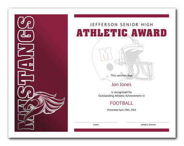 Style 1: Illustrates the type in burgundy and black ink and the mustang mascot column in silver and burgundy foil.