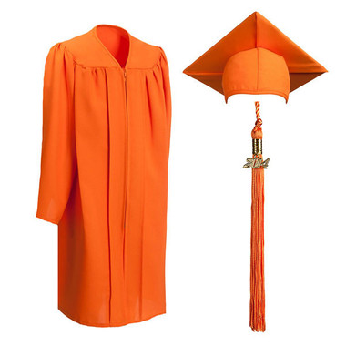 Shown is child matte orange cap, gown & tassel package (Cool School Studios 0625).