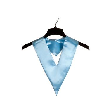 Shown is sky blue child v-stole (Cool School Studios 0909), front view.