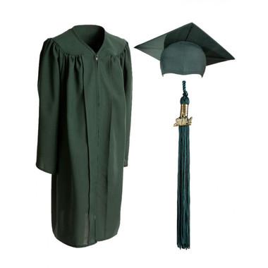Shown is child matte forest green cap, gown & tassel package (Cool School Studios 0621).