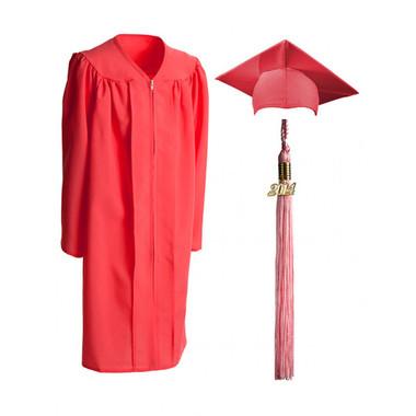 Shown is child matte pink cap, gown & tassel package (Cool School Studios 0622).