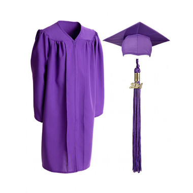 Shown is child matte purple cap, gown & tassel package (Cool School Studios 0623).