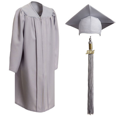 Shown is child matte silver cap, gown & tassel package (Cool School Studios 0624).