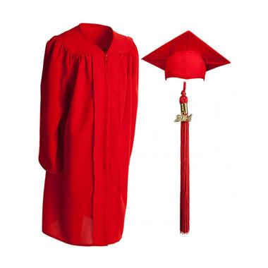 Shown is child matte red cap, gown & tassel package (Cool School Studios 0614).