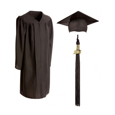 Shown is child matte black cap, gown & tassel package (Cool School Studios 0616).