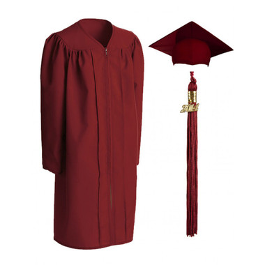Shown is child matte maroon cap, gown & tassel package (Cool School Studios 0618).
