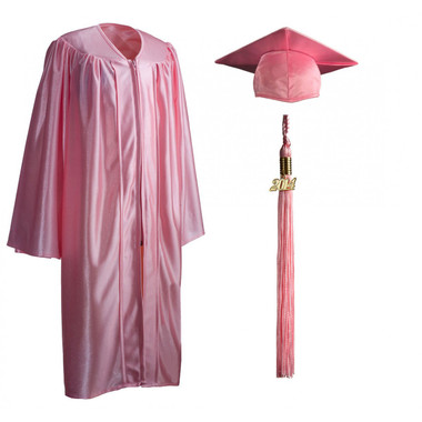 Shown is child shiny pink cap, gown & tassel package (Cool School Studios 0609).