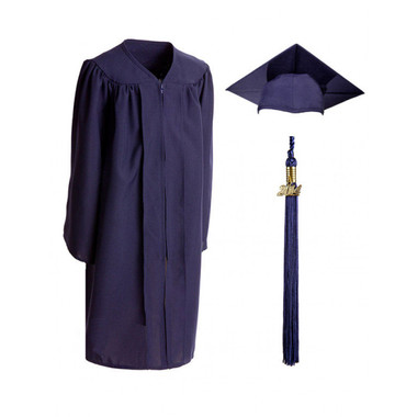 Shown is child matte navy blue cap, gown & tassel package (Cool School Studios 0613).