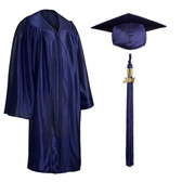 Shown is child shiny navy blue cap, gown & tassel package (Cool School Studios 0603).