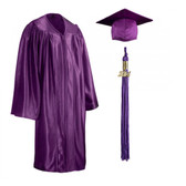 Shown is child shiny purple cap, gown & tassel package (Cool School Studios 0604).