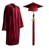 Shown is child shiny maroon cap, gown & tassel package (Cool School Studios 0606).