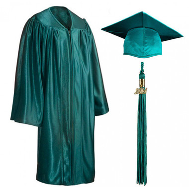 Shown is child shiny emerald green cap, gown & tassel package (Cool School Studios 0608).